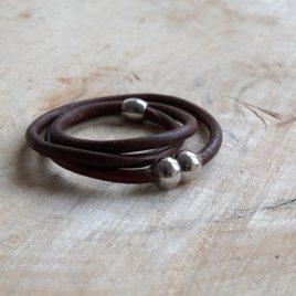 Bruine rond leren armband