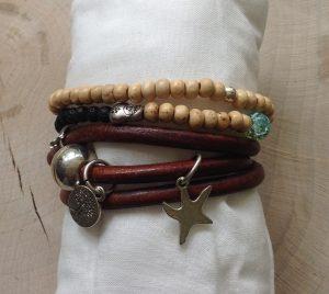 armband van houten kraaltjes