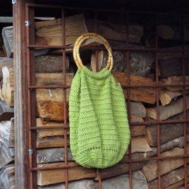 limegroene gehaakte tas