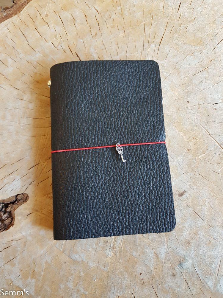semms zwart leren notitieboekje