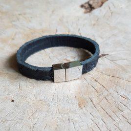 semms zwart bewerkt leren armbandje