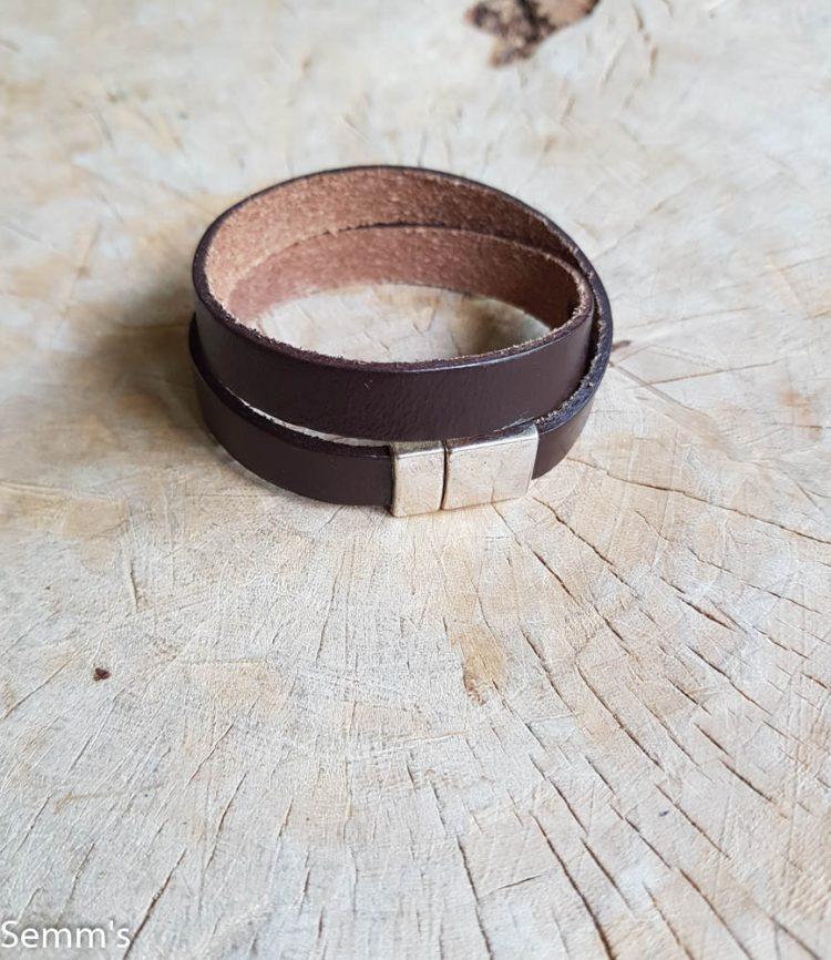 semms dubbele bruine leren armband