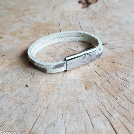 semms grijswit leren armband