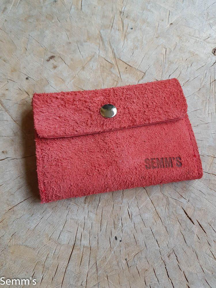 semms rood suede portemonnee