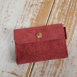 semms rood suede portemonneetje