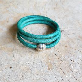 semms zeegroene leren armband