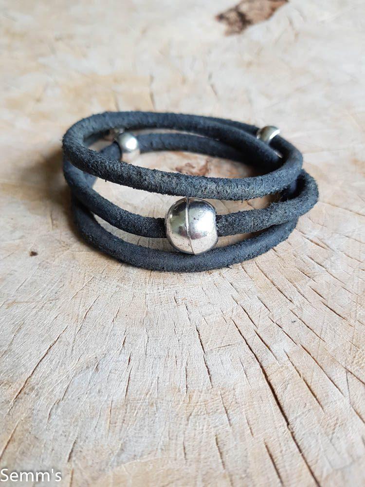 zwart vintage leren armband