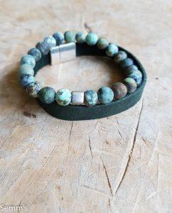 Semms groene kralenarmband natuursteen