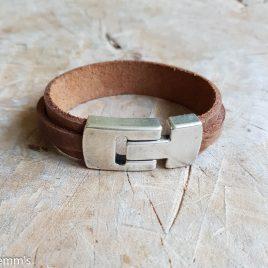 semms bruine leren armband