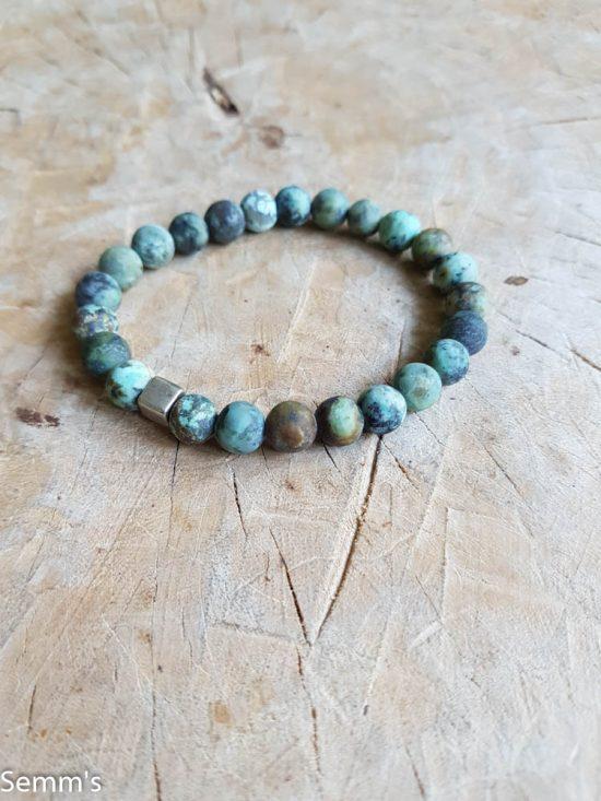 Semms groen gemeleerde kralenarmband