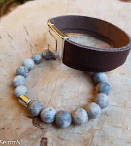 leren armband en kralenarmband