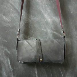 zwart leren crossbody bag