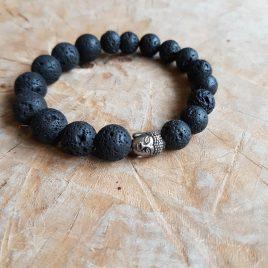 armband zwarte lavakralen