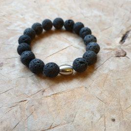 armband zwarte lavastenen