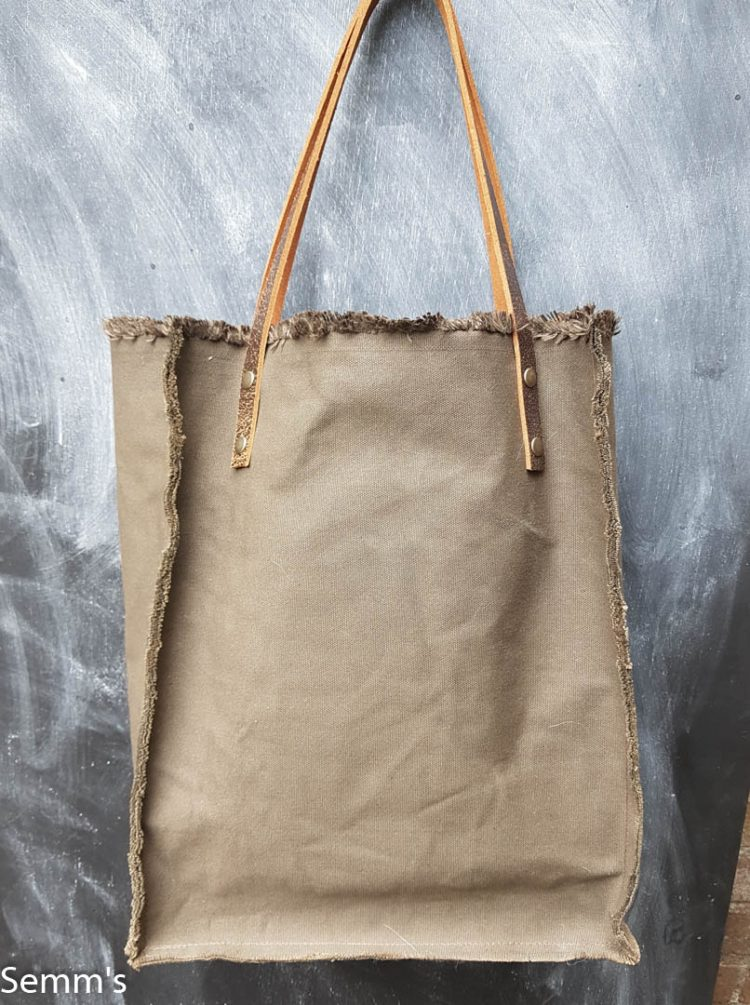donkergroene canvas shopper