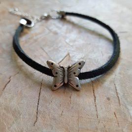 leren enkelbandje met vlinder
