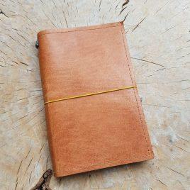 leren notitieboekje cognac