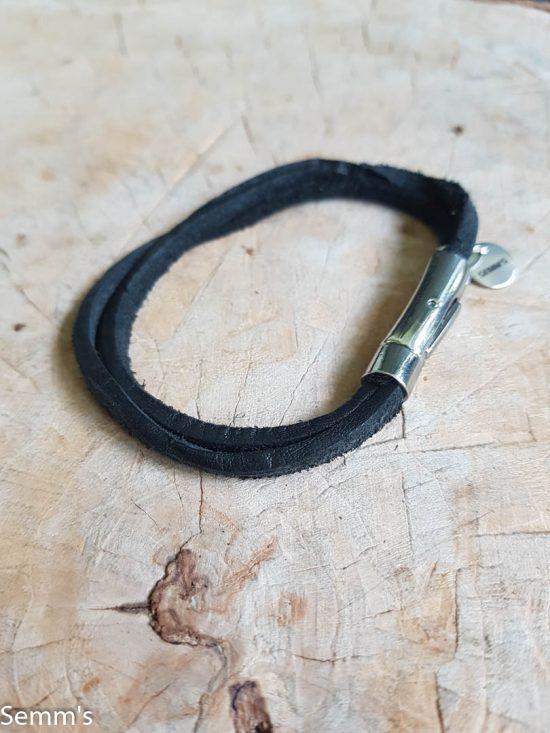 zwart leren armband