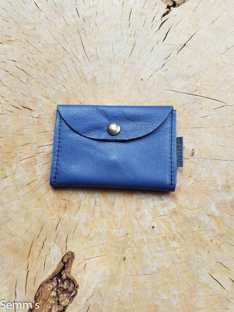 blauw leren portemonnee