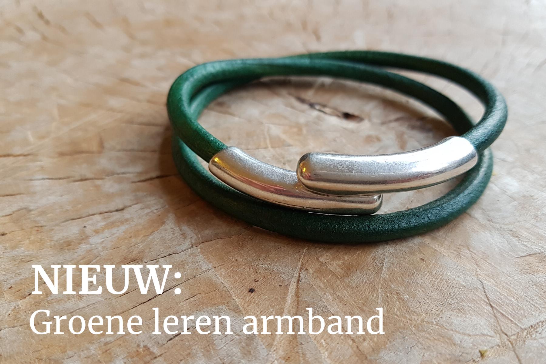 groen leren armband