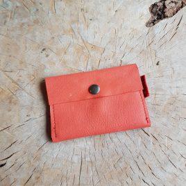 oranje leren portemonneetje