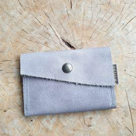 leren portemonneetje grijs   leren pasjeshouder
