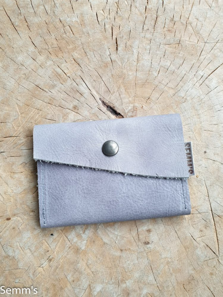 leren portemonneetje grijs | leren pasjeshouder