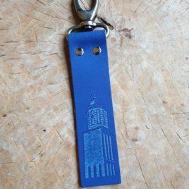 blauw leren sleutelhanger met peperbus